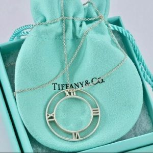 Tiffany & Co Silver Atlas Roman Numeral Necklace